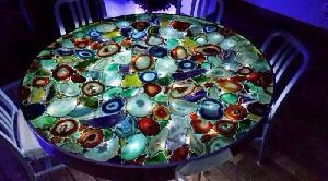 Multi Agate Slice Stone Table Top