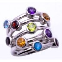 925 Sterling Silver Blue Topaz, Amethyst, Smoky Multi- Semi- Pecious Gemstone Ring