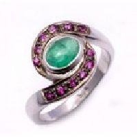 925 Sterling Silver Emerald & Ruby Gemstone Ring