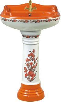 Painted Pedestal Wash Basin