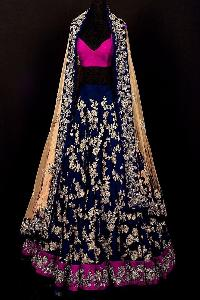 Banglory Embroidered Net Blue Lehenga Choli