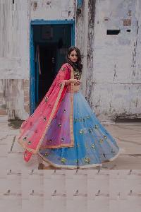 Machine Work Net Blue Lehenga Choli