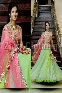 Embroidered Green Net Lehenga Choli