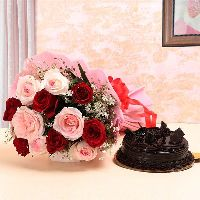 12 Red Pink Roses Bouquet
