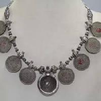 Antique Old Silver Tribal Necklace Old Coins