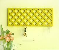 Yellow Wooden Jali Key Holder