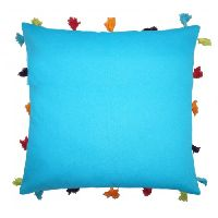Lushomes Bachelor Button Cotton Cushion Cover With Pom Pom - Pack Of 1
