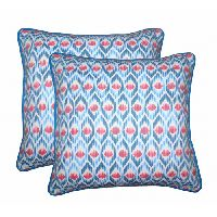 Lushomes Diamond Printed Cotton Cushion Covers With Co-ordinating Cord Piping