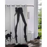 Lushomes Digitally Printed Cat Woman Shower Curtain With 10 Eyelets