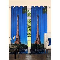 Lushomes Digitally Printed Eiffel Tower Polyester Blackout 8 Metal Eyelets Doors Curtains
