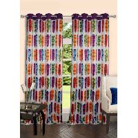 Lushomes Digitally Printed Feather Polyester Blackout 8 Metal Eyelets Doors Curtains
