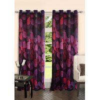 Lushomes Digitally Printed Flowerbed Polyester Blackout 6 Metal Eyelets Doors Curtains