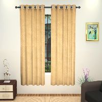 Lushomes 8 Metal Eyelets Windows Embossed Blackout Beige Curtain