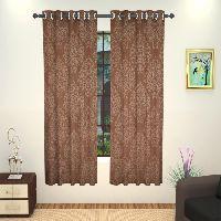 Lushomes 8 Metal Eyelets Windows Embossed Blackout Brown Curtain