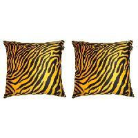 Lushomes Golden Yellow Zebra Skin Printed Cushion Covers