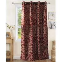 Lushomes Lining 8 Eyelets Door Polyester Maroon Jacquard Curtains