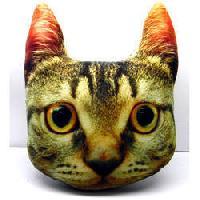 Cat Face Cotton Velvet Filled Cushion