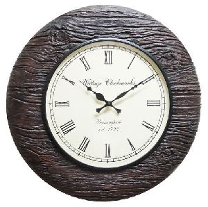 Carved Brown Wood Wall Clock