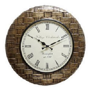 Copper Brown Wood Brass Fitted Wall Clock