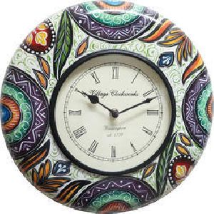 Green Color Painted Wooden Wall Clock