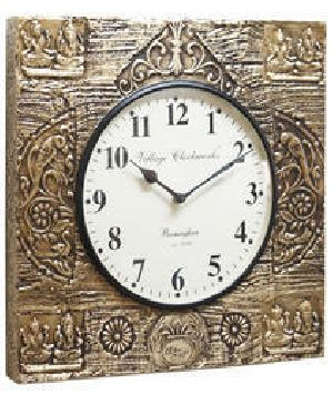 Lakshmi Ganesh Brass Fitted Wall Clock