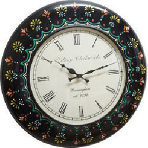 Multi Color Painted Wooden Wall Clock
