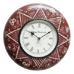 Red Color Painted Wooden Wall Clock