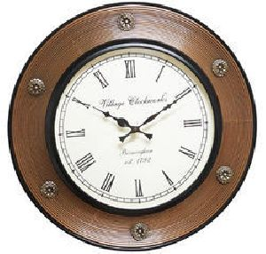 Wood Polished Carving Lining Wall Clock