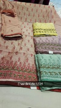 Embroidered Chanderi Unstitched Suit