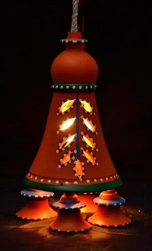 Rural Shades Terracotta Hand Painted Hanging Bell Lamp