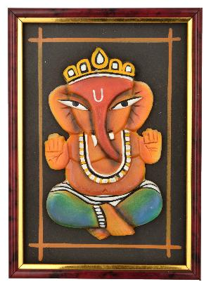 RURALSHADES Terracotta Ganesh Frame Wall Hanging
