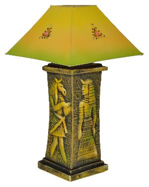 RURALSHADES Terracotta Hand Painted Decorative Green Table Lamp Handicraft