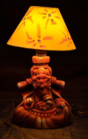 Ruralshades Terracotta Hand Painted Ganesha Sand Finish Table Lamp Handicraft