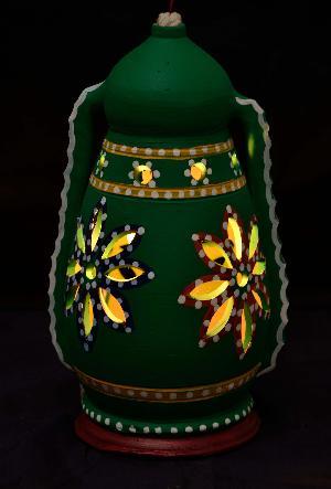RURALSHADES Terracotta Hand Painted Green Hanging Lantern Lamp Handicraft