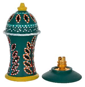 RURALSHADES Terracotta Hand Painted Green Table Lamp Handicraft
