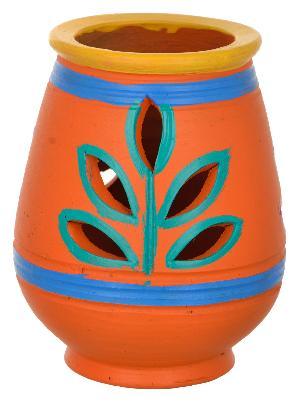 RURALSHADES Terracotta Hand Painted Orange Diya Diffuser Handicraft