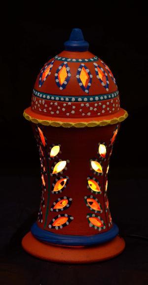 RURALSHADES Terracotta Hand Painted Orange Table Lamp Handicraft