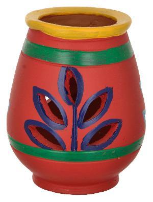 RURALSHADES Terracotta Hand Painted Red Diya Diffuser Handicraft