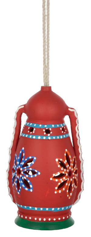 RURALSHADES Terracotta Hand Painted Red Hanging Lantern Lamp Handicraft