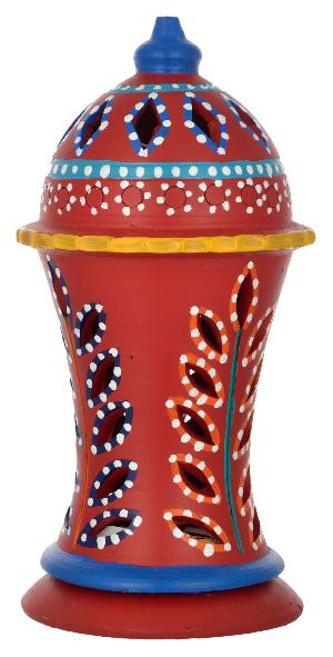 Ruralshades Terracotta Hand Painted Red Table Lamp Handicraft