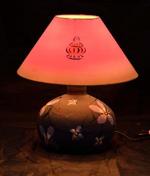 RURALSHADES Terracotta Hand Painted Round Base Table Lamp Handicraft