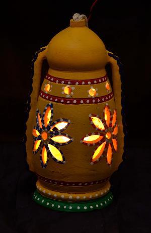 RURALSHADES Terracotta Hand Painted Yellow Hanging Lantern Lamp Handicraft