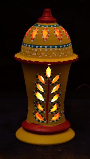 RURALSHADES Terracotta Hand Painted Yellow Table Lamp Handicraft