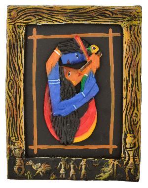 RURALSHADES Terracotta Radha Krishna 3D Frame Wall Hanging