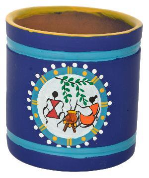 RURALSHADES Terracotta Traditional Blue Warli Pen Stand Handicraft