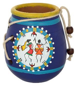 RURALSHADES Terracotta Traditional Warli Blue Pen Stand Handicraft