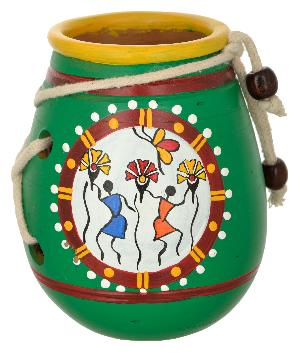 RURALSHADES Terracotta Traditional Warli Green Pen Stand Handicraft