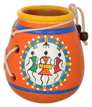 RURALSHADES Terracotta Traditional Warli Orange Pen Stand Handicraft