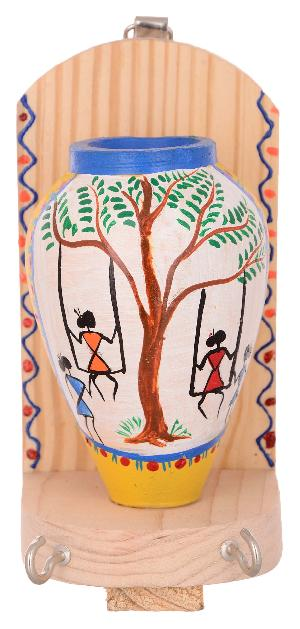 RURALSHADES Terracotta Traditional Warli Painted Yellow Pot Key Holder