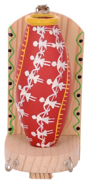 RURALSHADES Terracotta Traditional Warli Painted Red Pot Key Holder